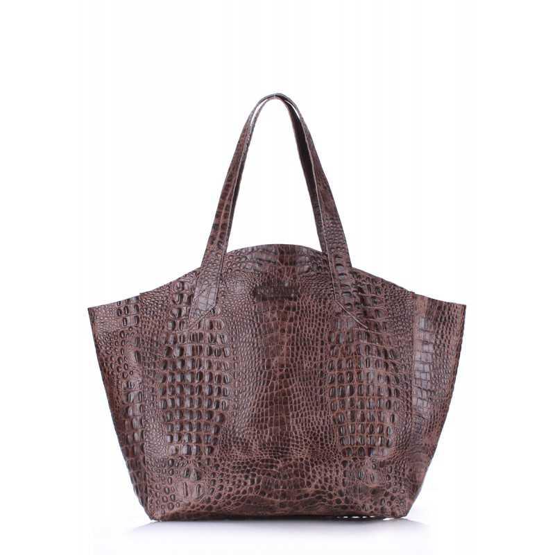 Кожаная сумка POOLPARTY Fiore Crocodile Brown