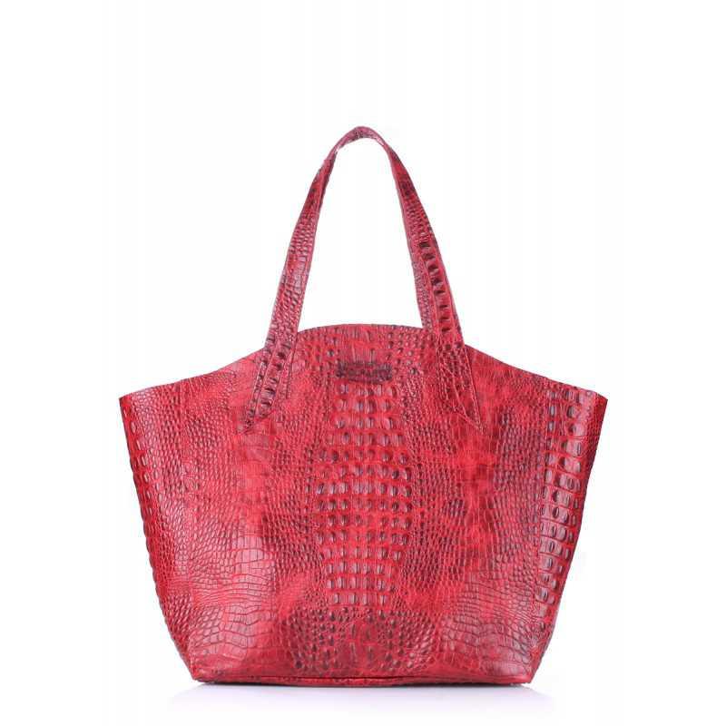 Кожаная сумка POOLPARTY Fiore Crocodile Red