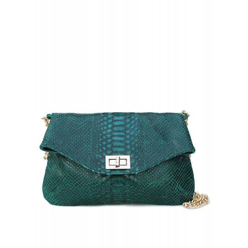 Кожаная сумочка-клатч с цепочкой POOLPARTY Green Snake Clutch