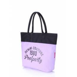 Коттоновая сумка POOLPARTY Paradise Lilac Black