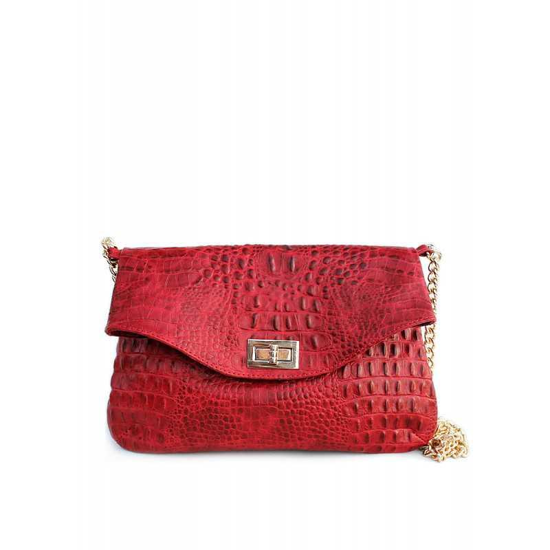 Кожаная сумочка-клатч с цепочкой POOLPARTY Red Crocodile Clutch