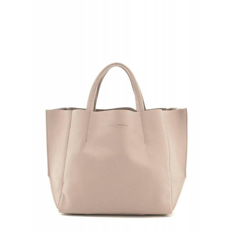 Кожаная сумка POOLPARTY Soho Beige