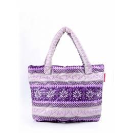 Дутая сумка POOLPARTY с северным узором pp11 Purple