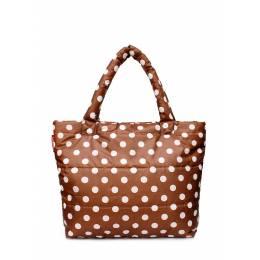 Дутая сумка POOLPARTY с принтом pp4 Cappuccino Dots
