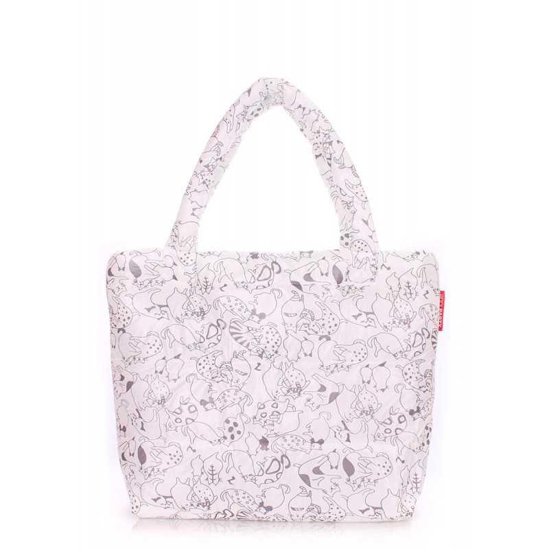 Дутая сумка POOLPARTY с принтом pp4 Cats White