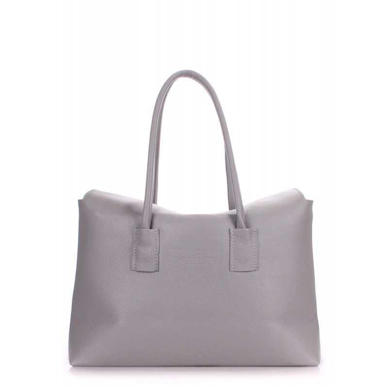 Кожаная сумка POOLPARTY Sense Grey