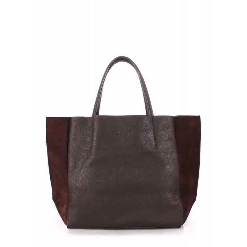 Кожаная сумка POOLPARTY Soho Brown Velour
